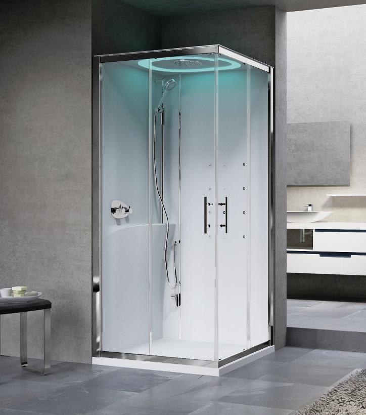 Novellini Eon A100X80 kabina z sauną parową LED, drzwi przesuwne, profil biały, lewa EONA10XSX1N-XA