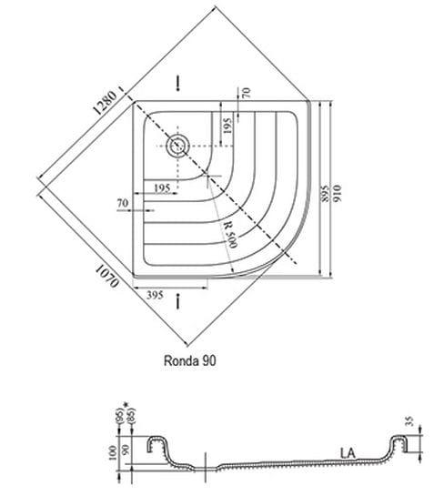 Ravak brodzik półokrągły Ronda LA 910x910  A217001220