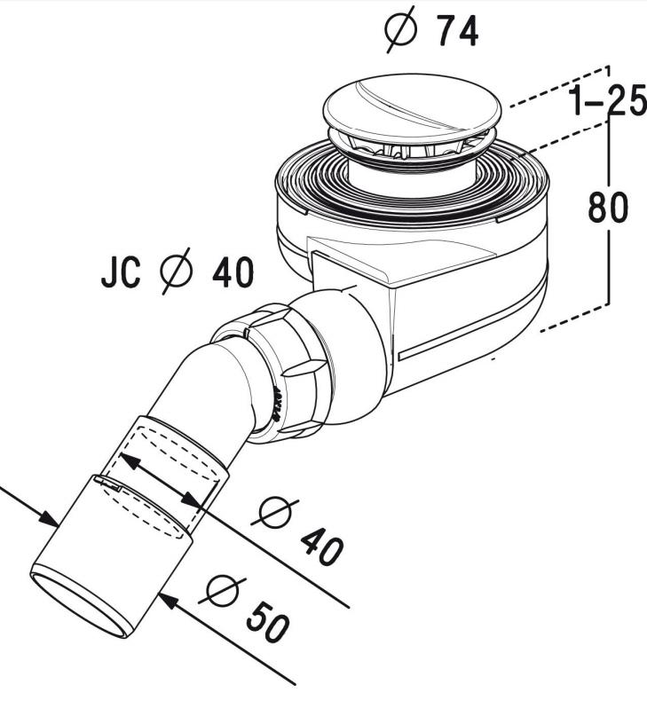 Radaway syfon do brodzików z otworem odpływowym o średnicy 50 mm samoczyszczący Turboflow TB50