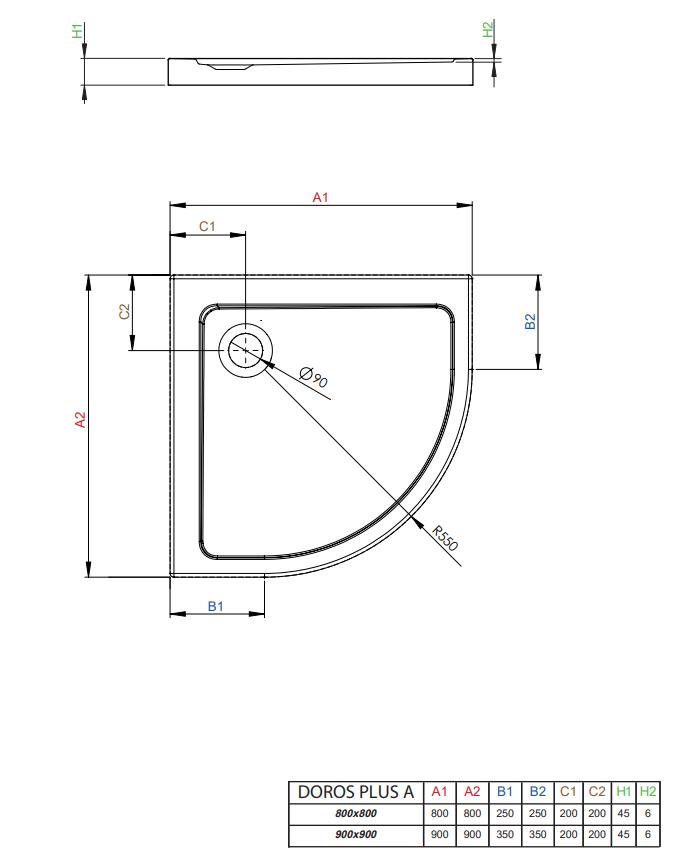 Radaway brodzik z wypełnieniem Doros Plus A 90x90cm  SDRPA9090-01