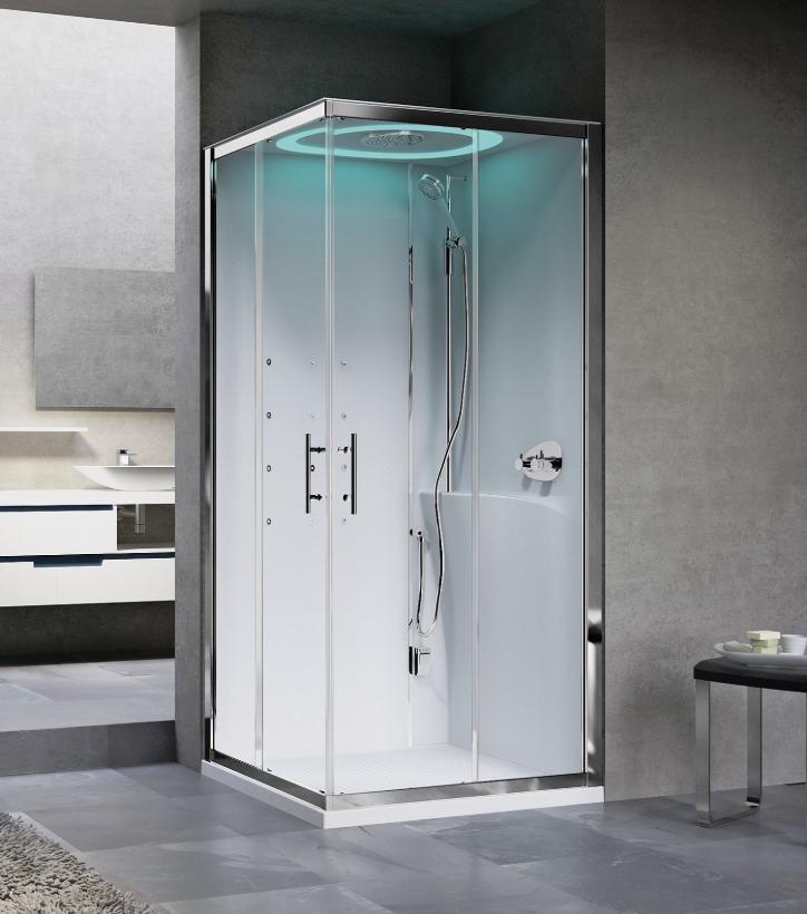 Novellini Eon A100X80 kabina z sauną parową LED, drzwi przesuwne, profil biały, prawa EONA10XDX1N-XA