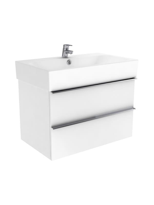 New Trendy Kubiko szafka wisząca + umywalka biały połysk 75 cm ML-9075/U-0077