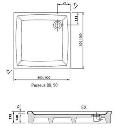 Ravak brodzik prysznicowy Perseus  80 EX  A024401310