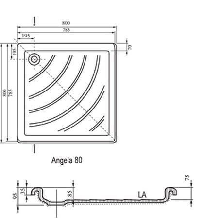 Ravak brodzik kwadratowy ANGELA LA 80x80  A014401220