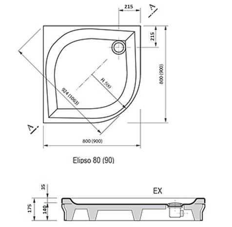 Ravak brodzik prysznicowy Elipso 80 EX A224401310