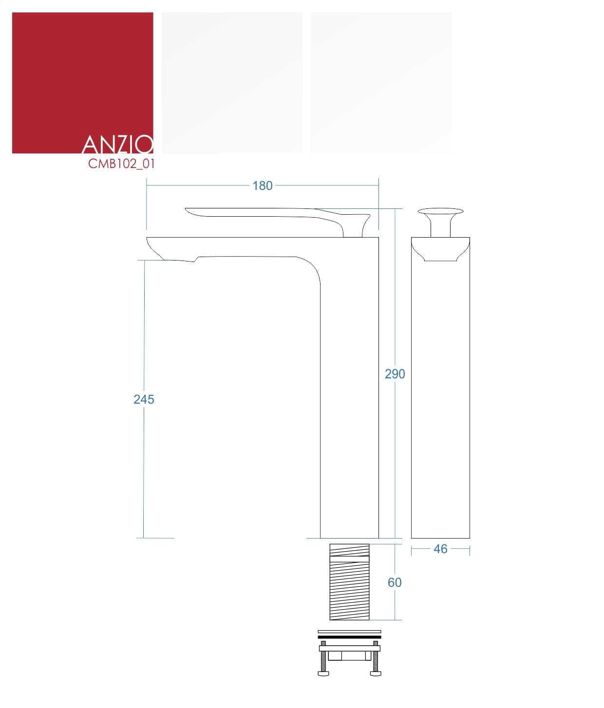 Corsan bateria umywalkowa wysoka Anzio CMB102 01 chrom