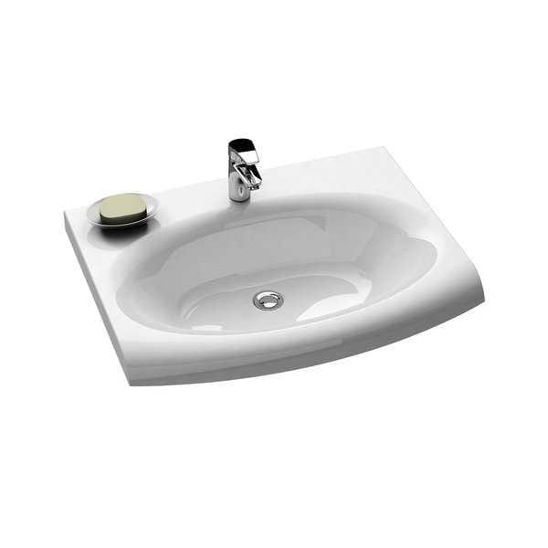 RAVAK umywalka Evolution 700 x 550mm biała, z otworem i ukrytym przelewem   XJE01200000