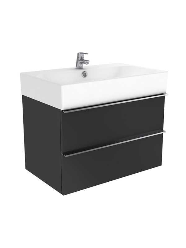 New Trendy Kubiko szafka wisząca + umywalka dwuotworowa antracyt połysk 100 cm ML-9110/U-0079