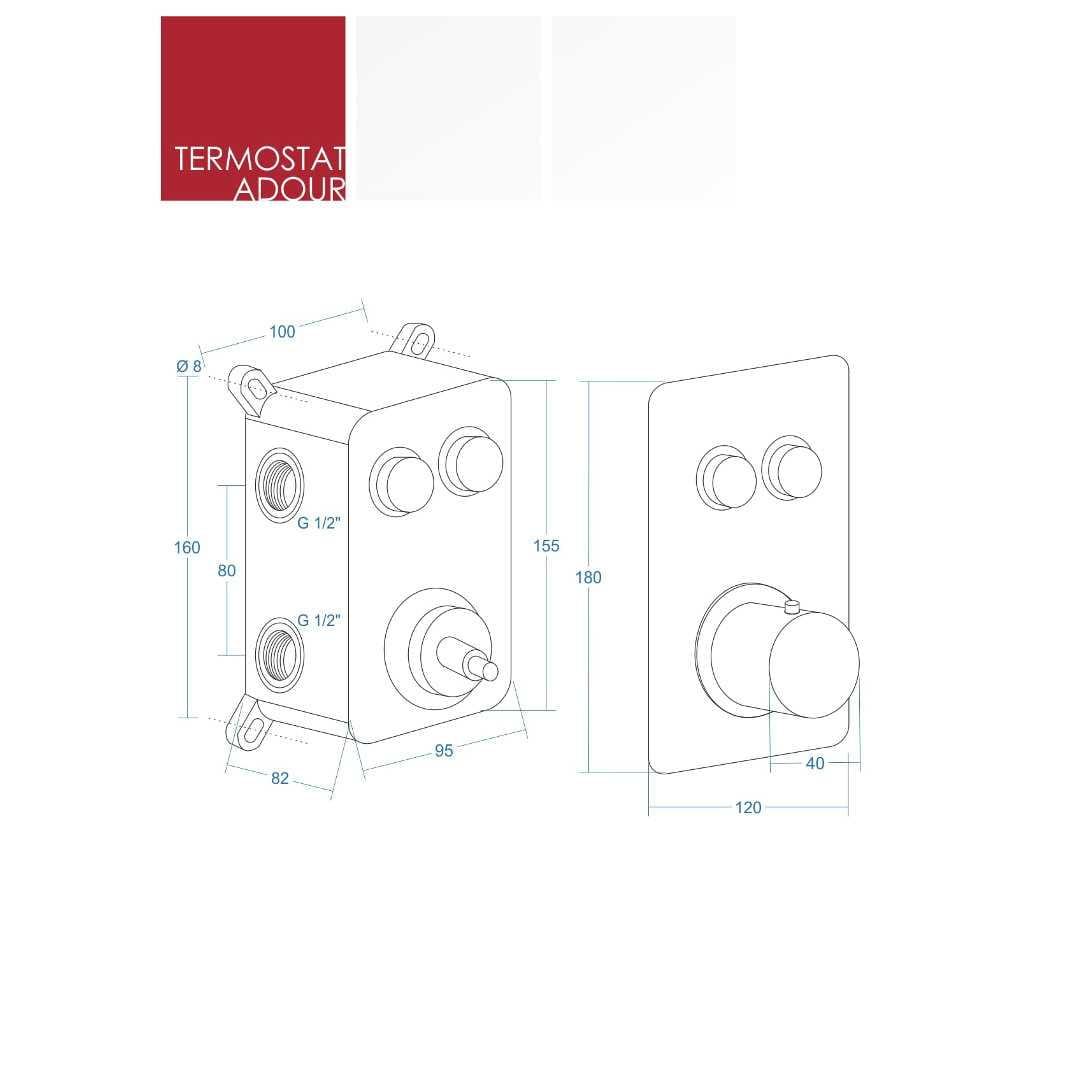 Corsan Anzio Adour Prysznicowy zestaw podtynkowy termostat CHROM CMZ049