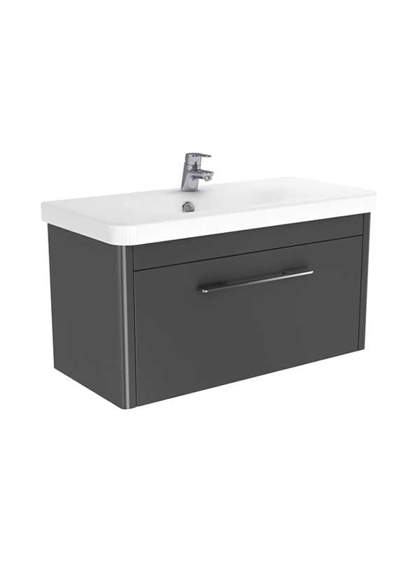 New Trendy Vito szafka wisząca + umywalka grafit połysk 80 cm ML-8180/U-0087