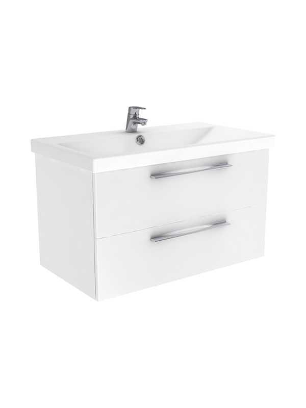 New Trendy Notti szafka wisząca + umywalka biały połysk 60 cm ML-9060/U-0082