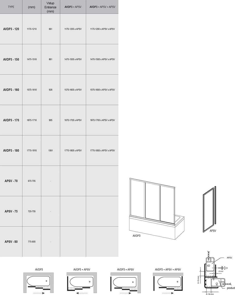Ravak Drzwi nawannowe AVDP3 - 180 Białe + Grape    40VY0102ZG