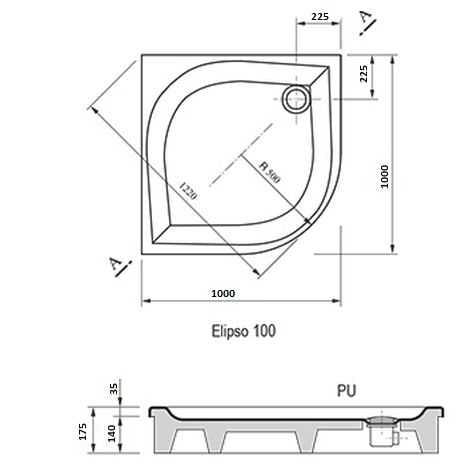 Ravak brodzik prysznicowy Elipso 100 PAN A22AA01410