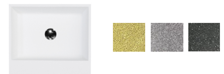 Besco umywalka nablatowa Vera Glam Srebrna 40x50x15 cm biało-srebrna