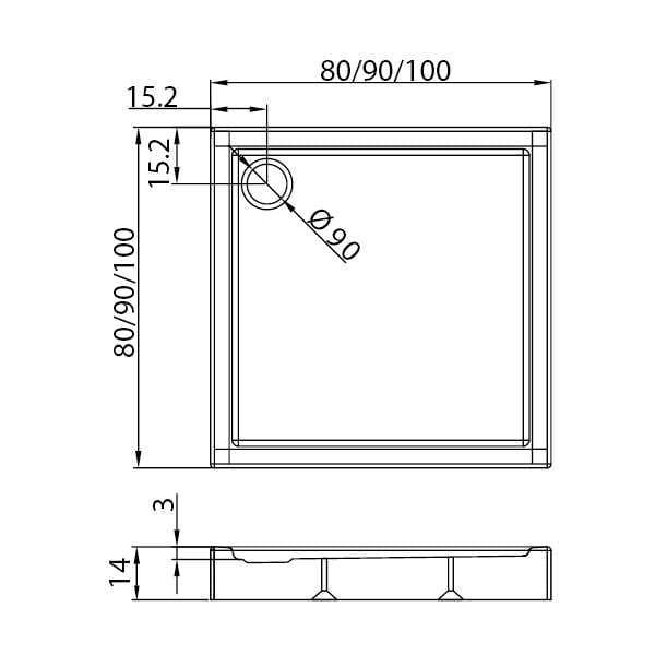 New Trendy | Brodzik COLUMBUS 100 x 100 x 14 cm  B-0413