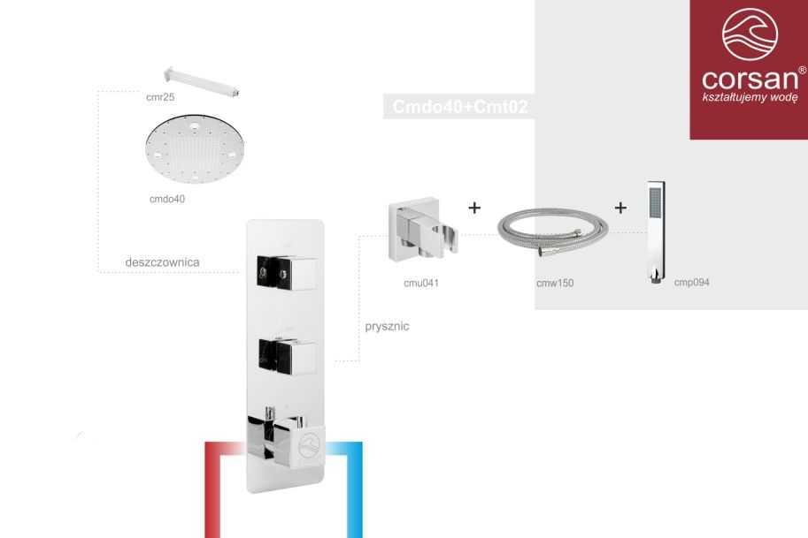 Corsan zestaw podtynkowy termostatyczny  Cmdo40+Cmt02