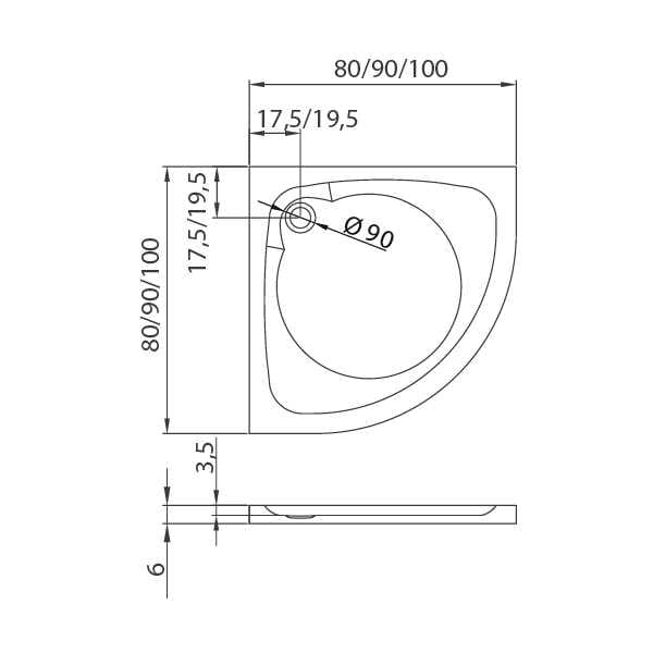 New Trendy | Brodzik CANTARE 90x90x6       B-0160