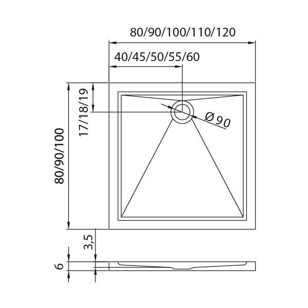 New Trendy |  Brodzik CANTARE 120 x 100 x 6 cm     B-0173