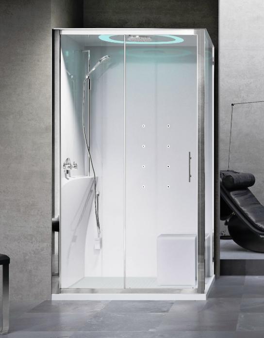 Novellini Eon 2P120x80 kabina z sauną parową LED, drzwi przesuwne, profil biały, lewa EON2P12XSX1N-XA