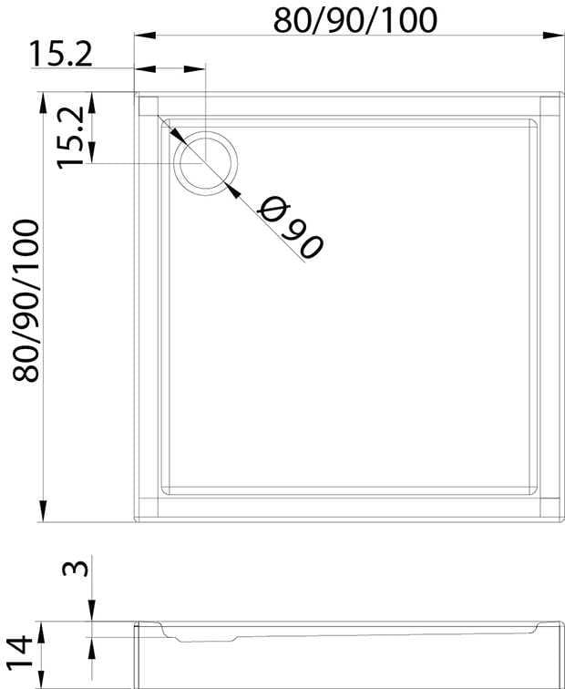 New Trendy | Brodzik COLUMBUS 90 x 90 x 14cm   B-0107