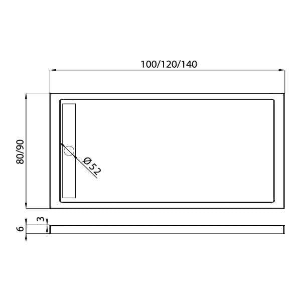 New Trendy | Brodzik z syfonem ALTER 120 x 80 x 6 cm   B-0281