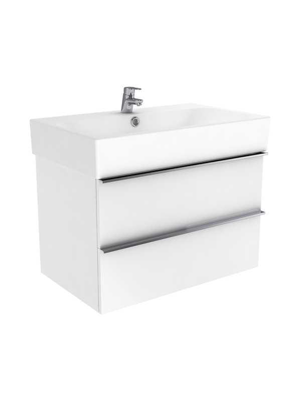 New Trendy Kubiko szafka wisząca + umywalka dwuotworowa biały połysk 100 cm ML-9010/U-0079