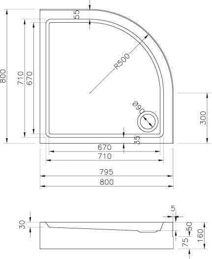 Ravak brodzik 80x80 Ronda Basic Kompakt   GPX2240131