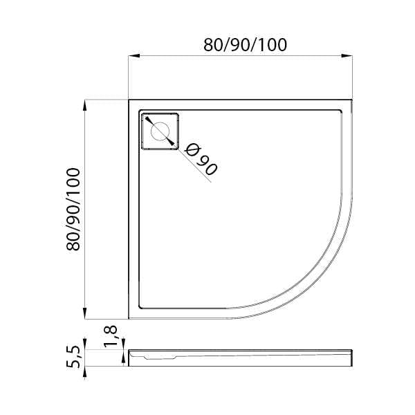 New Trendy | Brodzik LIDO 100x100x5,5    B-0313