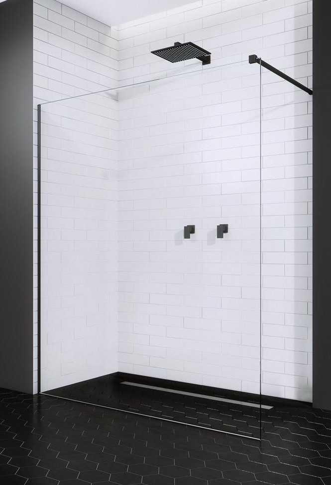 Kabina prysznicowa Walk-In Radaway Modo New Black II 105 cm, szkło przejrzyste, wys.200 cm 389105-54-01