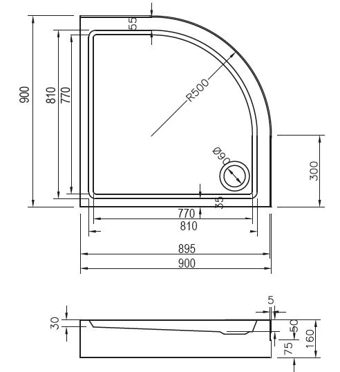 Ravak brodzik 90x90cm Ronda Basic Kompakt   GPX2240132