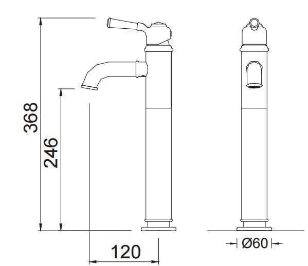 Blue Water Calitri bateria umywalkowa wysoka chrom CAL-BUW.050C