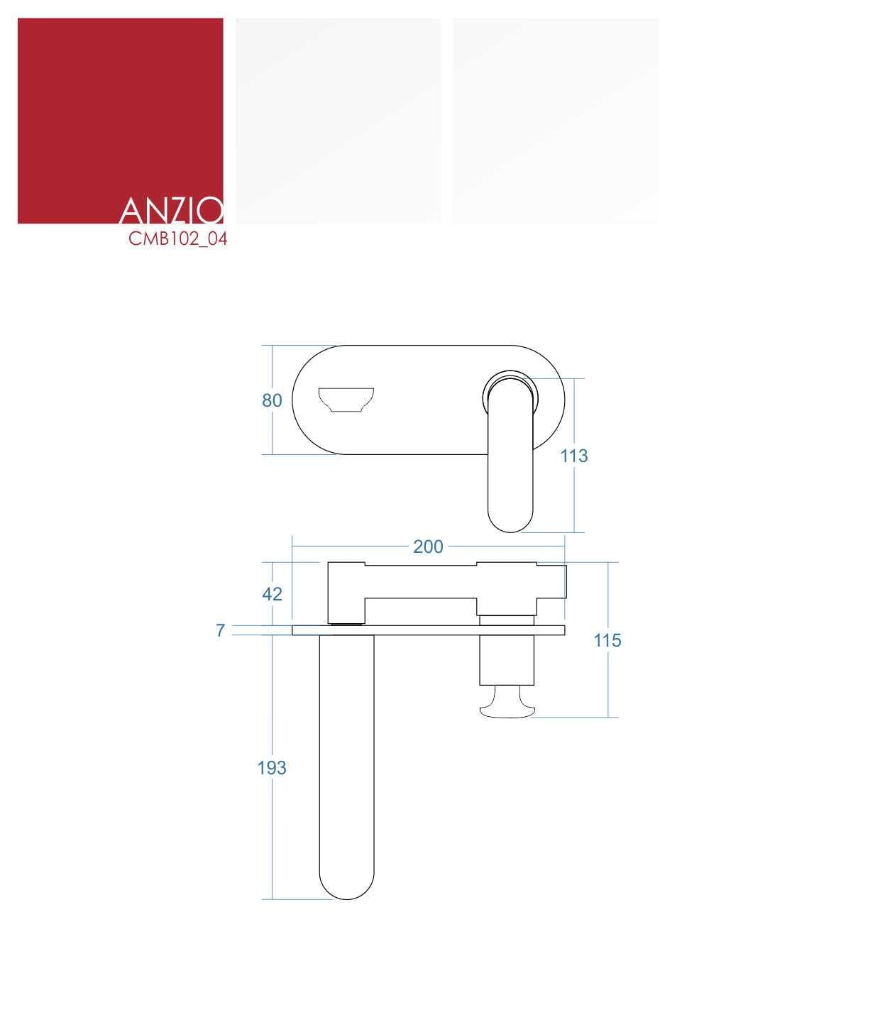 Corsan bateria umywalkowa podtynkowa Anzio CMB102 04 chrom