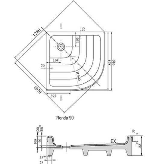 Ravak brodzik półokrągły Ronda EX 910x910  A207001320