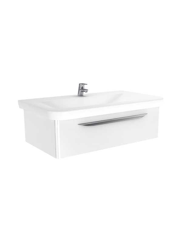 New Trendy Sfero szafka wisząca + umywalka biały połysk 95 cm ML-9095/U-0083