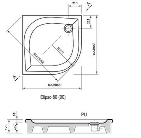 Ravak brodzik prysznicowy Elipso 80 PAN A224401410