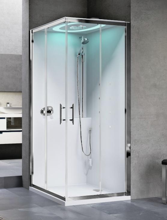 Novellini Eon A80 kabina z sauną parową LED, drzwi przesuwne, profil biały, EONA8XX1N-XA