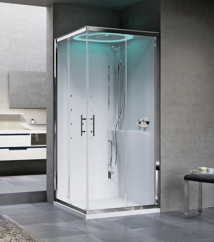 Novellini Eon A100X80 kabina z sauną parową LED, drzwi przesuwne, profil srebrny, prawa EONA10XDX1N-XB