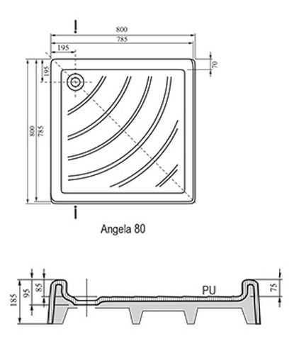 Ravak brodzik kwadratowy ANGELA PU 80x80  A004401120