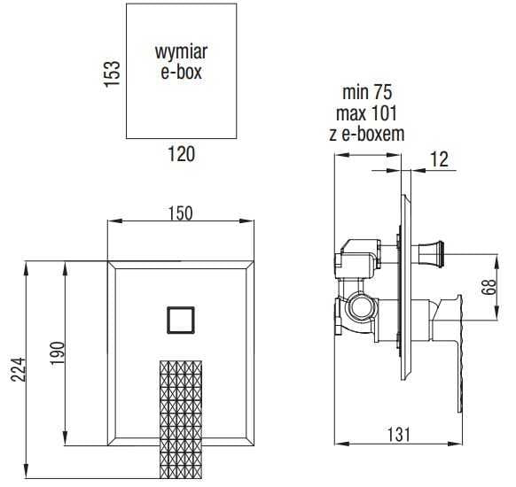 Art Platino Panama bateria podtynkowa jednouchwytowa z przełącznikiem chrom PAN-BPD.220C