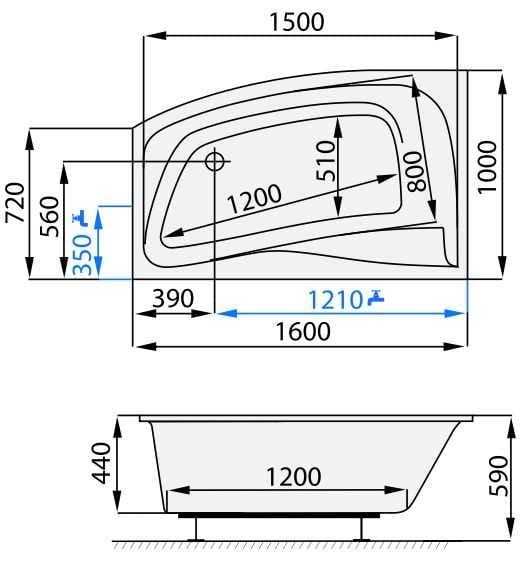 Santech wanna asymetryczna Impuls 160x100 cm, prawa                 SAIMP160P