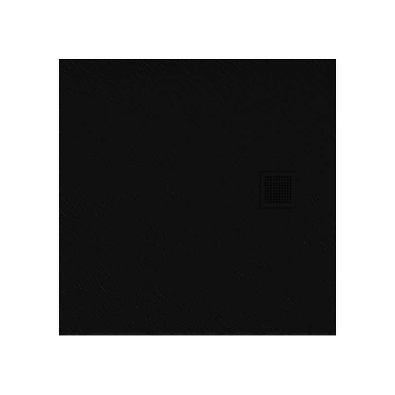 New Trendy   Brodzik MORI kwadratowy, konglomerat 90x90x3cm  czarny  B-0402