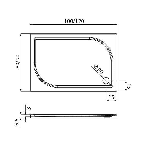 New Trendy | Brodzik IDEO 100 x 80 x 5,5 cm   B-0322
