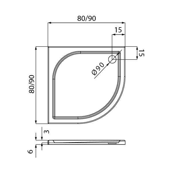 New Trendy | Brodzik IDEO 80x80x6    B-0314