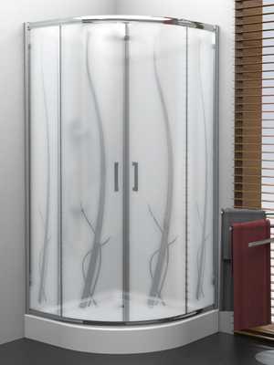 Kabina prysznicowa półokrągła New Trendy | VARIA 90x90, wys. 185 cm , wzór Natura 5mm K-0153
