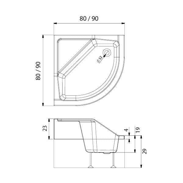 New Trendy | Brodzik ANGUS półokrągły R55  80 x 80 x 29 cm  z siedziskiem B-0361