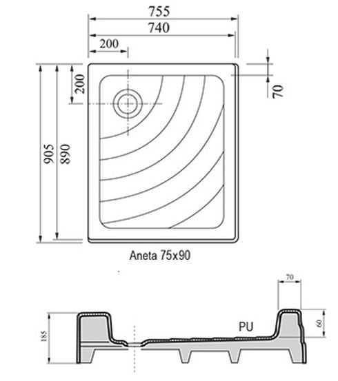 Ravak brodzik prostokątny ANETA PU 75x90  A003701120