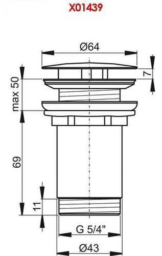 Ravak korek umywalkowy stały chrom X01439