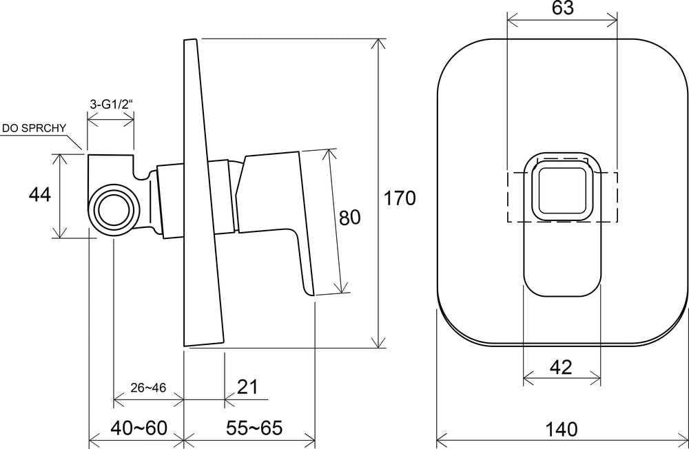 Ravak  bateria podtynkowa bez przełącznika 10° ( 10 stopni)  X070069     TD 062.00