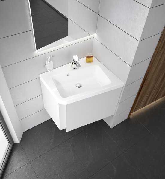 Ravak umywalka  10°(stopni)  550 biała z otworami,  prawa  XJIP1155000