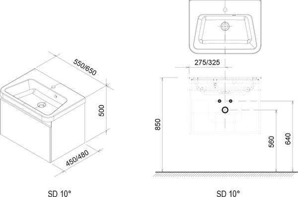 Ravak SD 10°(stopni) szafka podumywalkowa  650 szara   X000000737